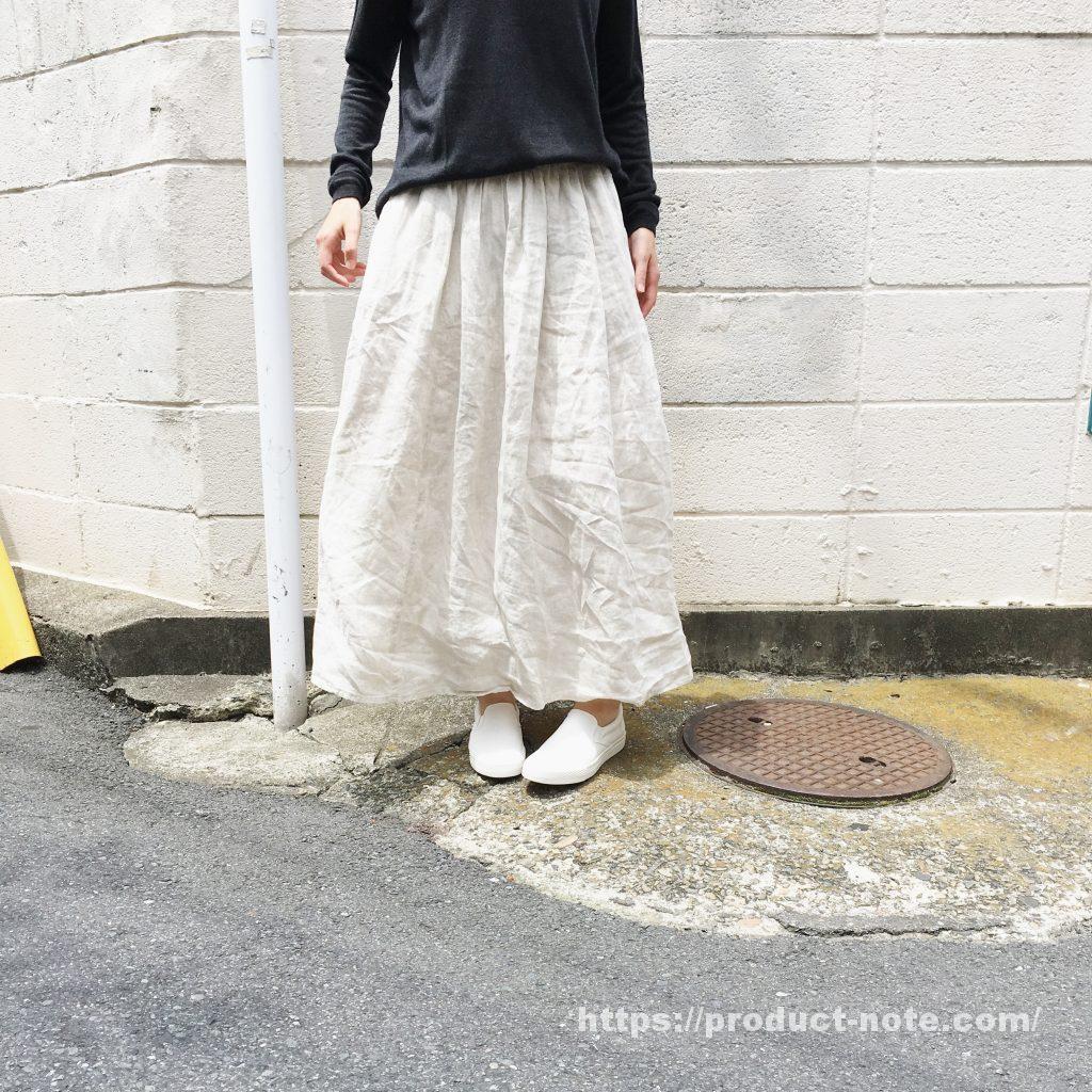 フレンチリネンイージーマキシスカート,撥水オーガニックコットンスリッポンスニーカー,無印良品