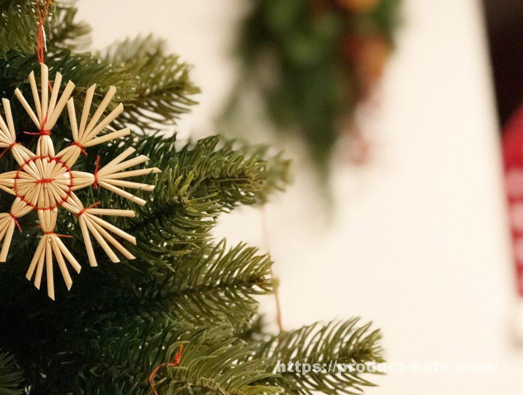 無印良品,クリスマススワッグ,飾りつけ,ストローオーナメント